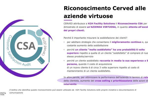 """H2H certificata Cerved come """"Azienda Virtuosa"""""""